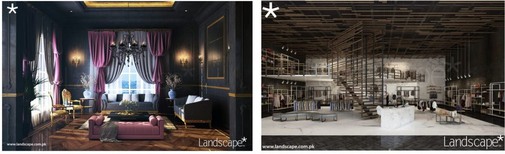 French Themed Formal Lounge and a Conceptual Retail Store Interior Planning and Design