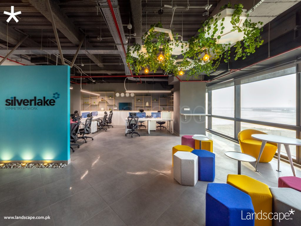 Interiors of a Contemporary Office with Accent Colours Over-seeing the Arabian Sea