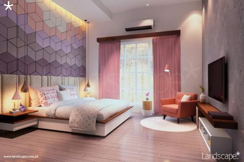 Her Room, Showing Interesting Bed Wall and Play of Furniture and Fabric