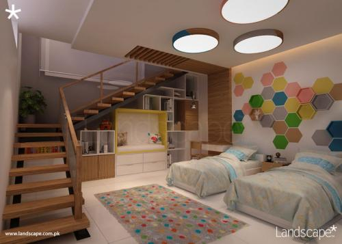 Kids Room, Play of Colors, Shelving and Furniture