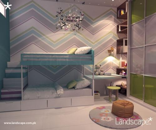 Bunk Bed with Patterned Wall and Steps. Kids Study and Shelving