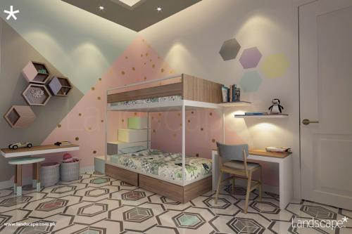 Floor and Wall Patterns bringing Energy in the Kids Room