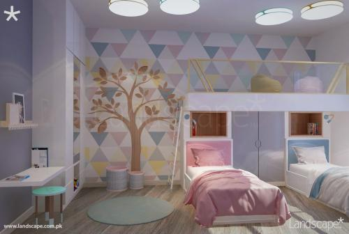 Wall Art, Play of Nude Colors, Storage Behind Kids Beds