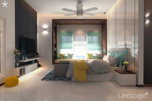 Room Having Bay Window, Laminate Bed Wall, LED Wall Unit Jute-Tufted