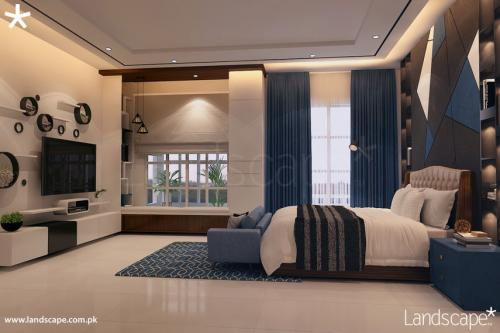 Play of Blue with Wood Polish Finish in the Interiors of a Bedroom Having Bay Window