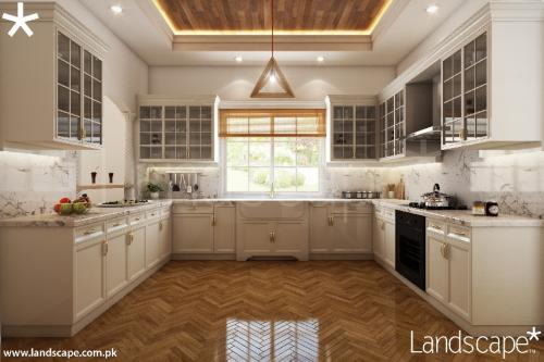 Kitchen with White Interiors