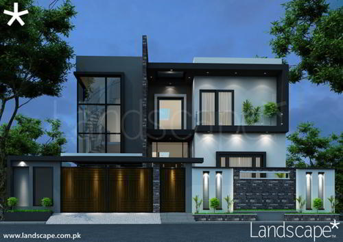 400 SYD House Design with Boundary Wall View