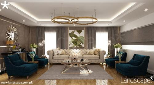 4. Lounge Interior with Contemporary Chandelier