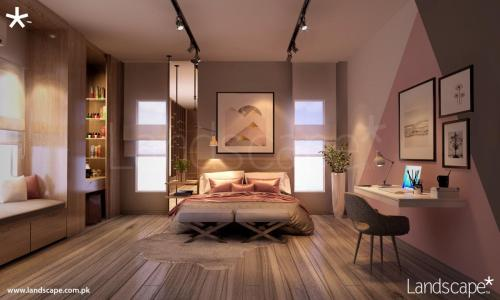 Contemporary Play of Geometric Lines and Dirty Pink Hues for a Residential Bedroom