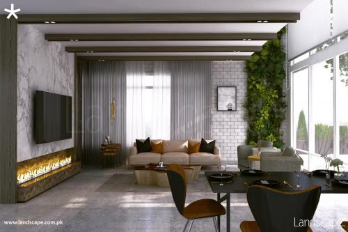 Exquisitely Designed Living Room in Warm Colors