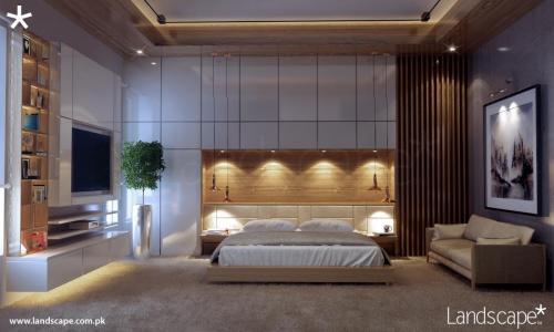 Residential Bedroom Designed with Sleek Elements
