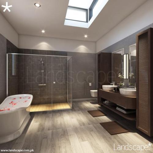 Modern Master Bathroom Design With Natural Lighting, Wooden Floors  Fittings, Glass Shower Enclosure  Innovative Storage Shelf Under the Washbasins
