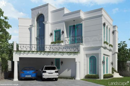 Front-View-of-a-Mediterranean-Style-Residence