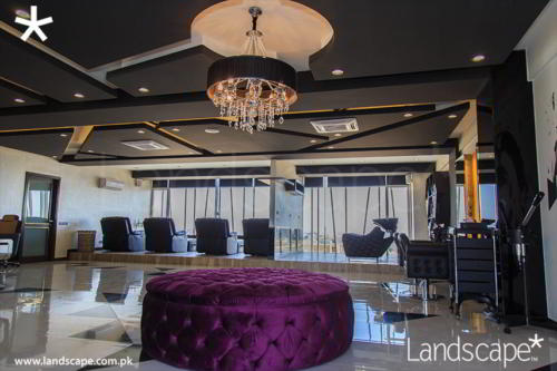 Angular Ceiling in Salon