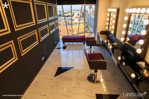 Gold Mouldings in Makeup Room