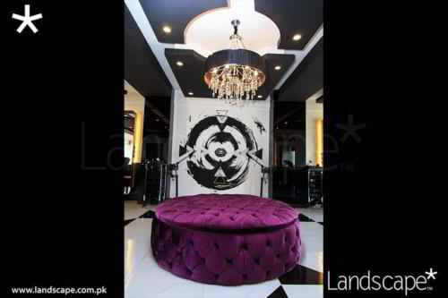 Main Feature of the Salon - Mural, Chandelier, the Ottoman