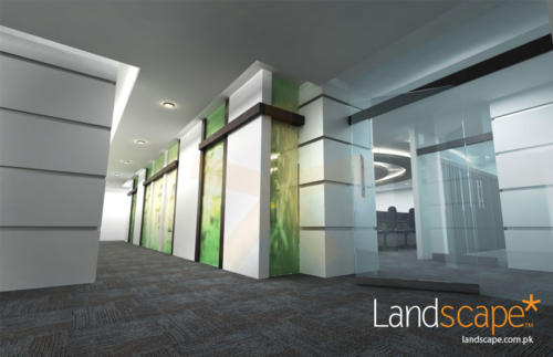 Lobby-View-Glass-Walls-with-Colored-Frost-Paper-and-Carpet-Tile-Floor
