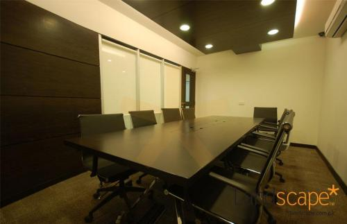 Wooden Drop Ceiling Over the Conference Table in the Boardroom