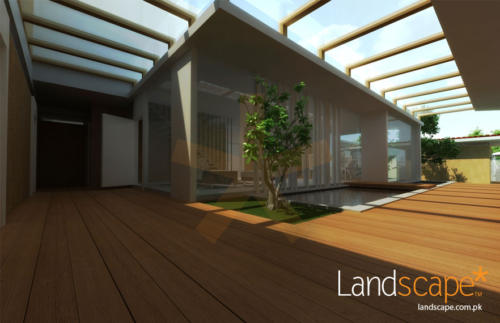 Day-View-of-Courtyard-Pond-Grass-Tree-Wooden-Deck
