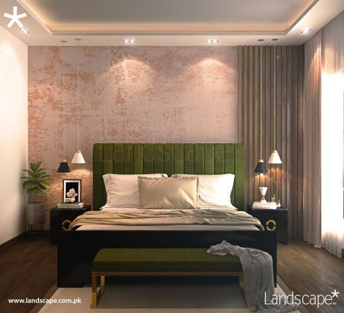 Bedroom with Olive Green and Warm Earthy Tones