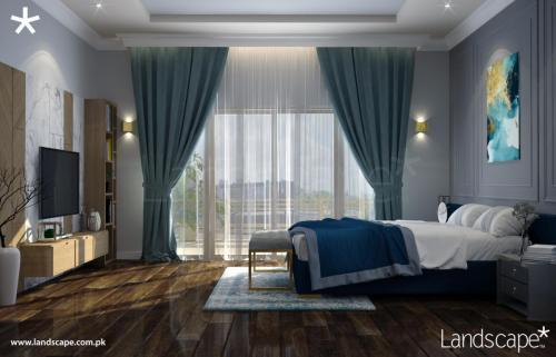 Contemporary Bedroom with a Subdued Colour Scheme