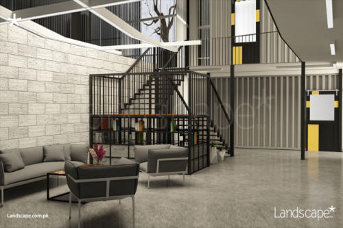 interior-of-warehouse-visitor-seating-around-stairecase