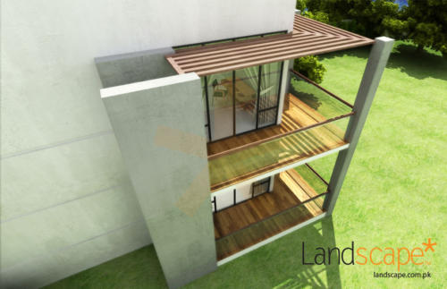 3D-Top-Botton-View-of-the-Out-House-Annexe-A-View-of-the-Balconies-in-Wood-and-Glass