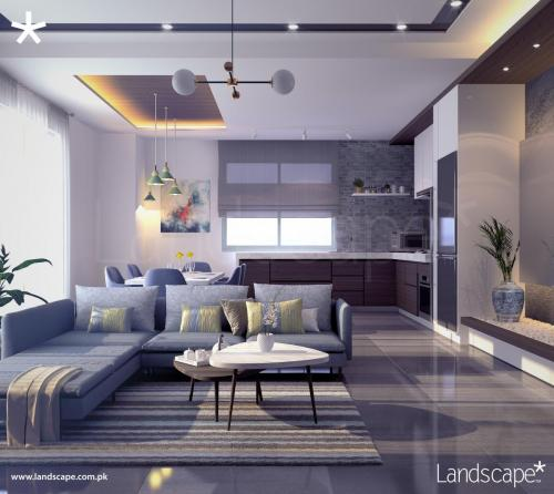 Living Area with Open Kitchen in a Penthouse