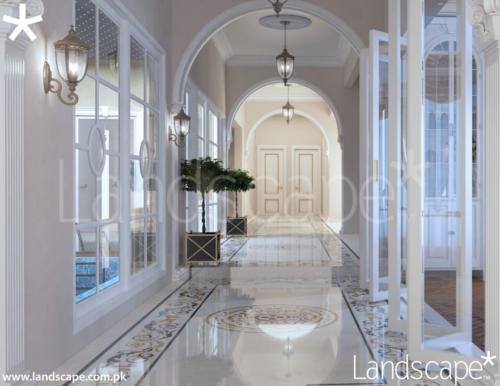 Corridor Design in Marble Mouldings