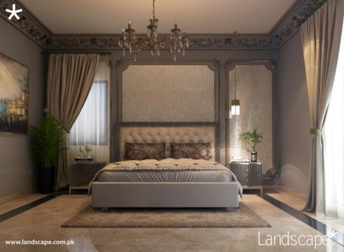 Bedroom with Monochromatic Colors and a Hint of Gold
